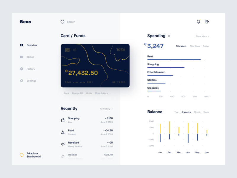 Bank Dashboard - Web App statistics funds debit card credit card banking account uiux web chart finance wallet card dashboard simple clean product design minimal ux app ui