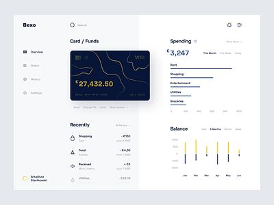 Bank Dashboard - Web App statistics funds debit card credit card banking account uiux web chart finance wallet card dashboard simple clean product design minimal ux app ui