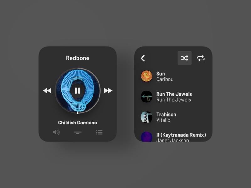 Music Player Exploration - Apple Watch - Dark Mode dark mode widget watchos ux uiux ui stream smart watch simple round product design playlist player music mobile minimal clean apple watch apple app