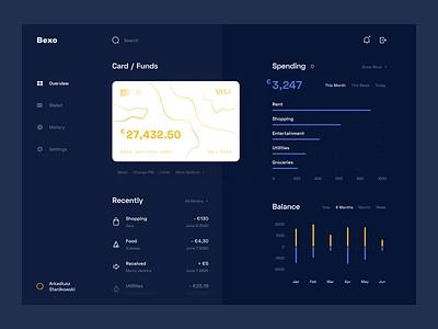 Bank Dashboard - Web App - Dark Mode dark mode web wallet ux uiux ui statistics simple product design minimal funds finance dashboard credit card clean chart card banking app account