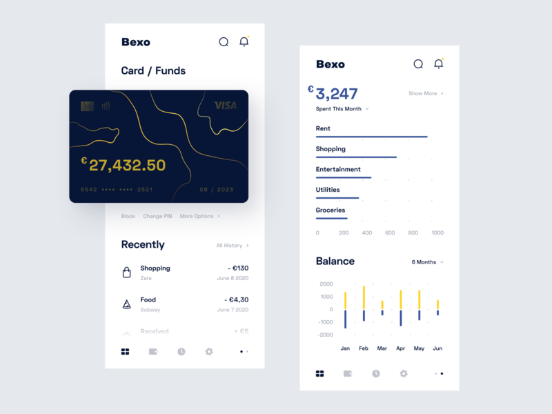 Bank Dashboard - Mobile App mobile wallet ux uiux ui statistics simple product design minimal funds finance debit card dashboard credit card clean chart card banking app account