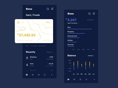 Bank Dashboard - Mobile App - Dark Mode mobile wallet ux uiux ui statistics simple product design minimal funds finance dashboard dark mode credit card clean chart card banking app account
