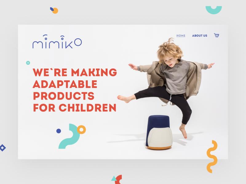 Mimiko - eCommerce Landing Page Header uiux ux ui website web design web simple shop shapes product minimal light landing page kids grey ecommerce colors clean children button