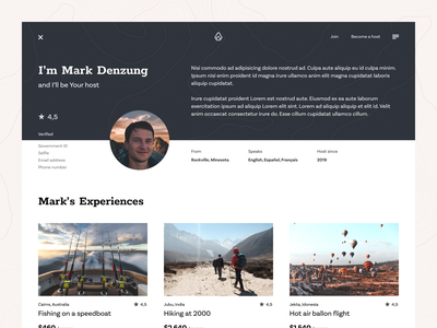 Outguided - host page product design webdesign website web ux uiux ui typography travel summer simple round photo people nature mountain minimal ecommerce clean