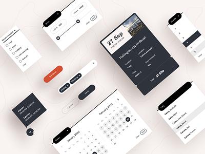 Outguided - UI elements input slider select checkbox light dropdown ticket calendar button menu webdesign web ux uiux ui simple product design minimal ecommerce clean