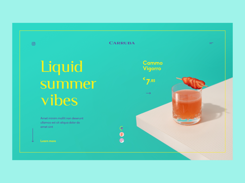Carruba - landing page light website web design webdesign web ux uiux ui product price minimal landing page landingpage landing fruits fresh drinks colors cocktails clean