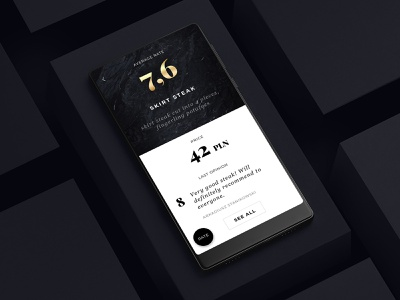 Chef Mate - dish page product design elegant marble typography dishes ux ui mobile app ios android restaurant food blackandwhite gold luxury minimal
