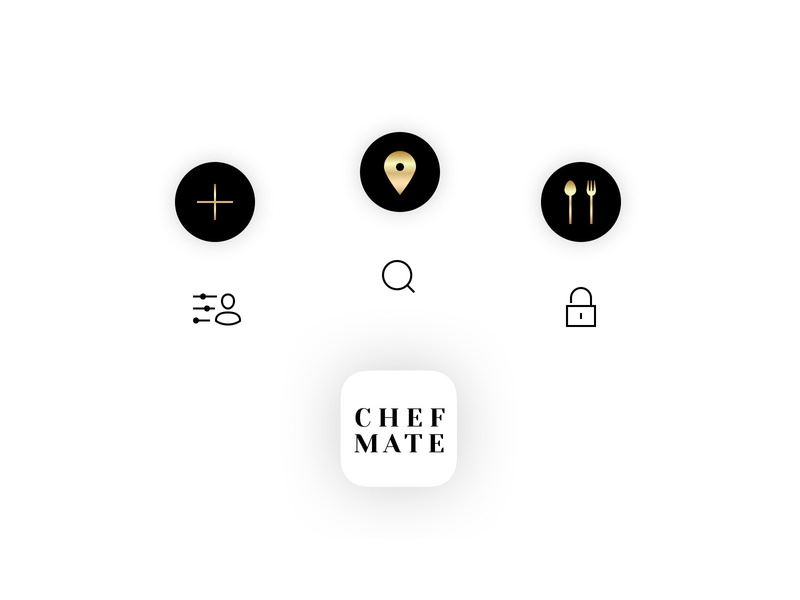 Chef Mate - Icons elegant check-in profile search restaurant luxury minimal blackandwhite gold food android ios app mobile mark icon