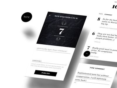 Chef Mate - You ate? You rate! product design swipe restaurant elegant minimal interaction food android ios blackandwhite ui ux app mobile