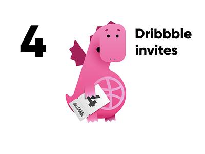 4 Dribbble invites invites giveaway invites dribbble invite dribbble invitations animation character design illustraion 2d dragon pink mascot mascot design dribbble invite giveaway flying