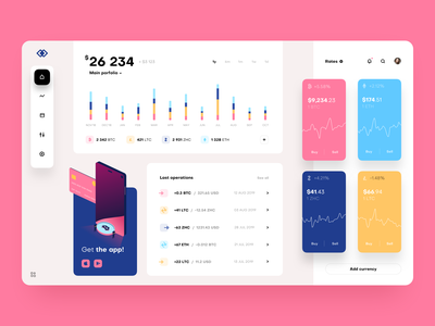 Cryptocurrency Exchange Dashboard with illustration finance product design bitcoin dashboard wallet profile cryptocurrency crypto analytics blockchain sketch chart product app web design ux ui interface user
