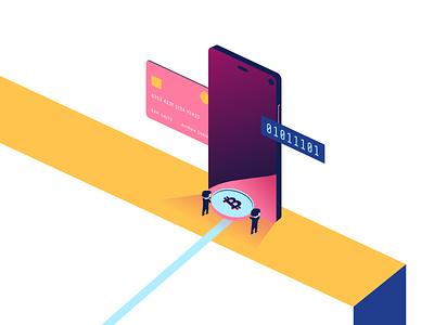 Cryptocurrency App Illustration coin money people clean card phone vector wallet illustartor illustraion finance cryptocurrency crypto blockchain bitcoin app