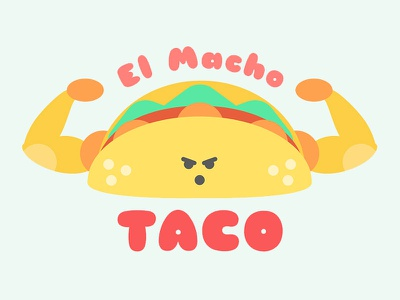 El Macho Taco flat design logo graphic design illustration food taco