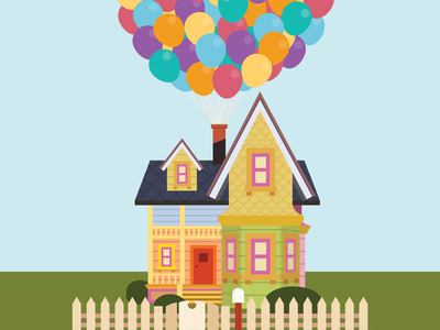 Up happy balloons house illustrator flat design illustration pixar up