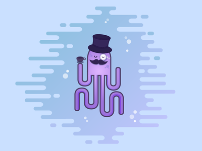Gentleman Octopus water flat design octopus gentleman fish illustration