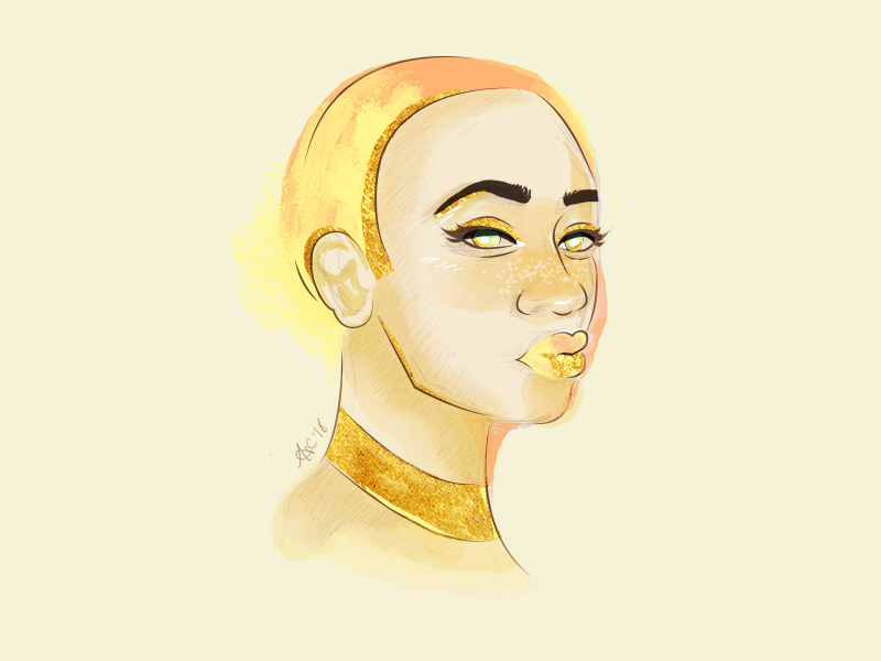 Gold Series | Yellow Gold intl womens day international womens day portraiture portrait womens day illustrator photoshop watercolor illustration