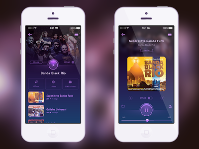 Daily UI #009 - Music Player app mobile rio black banda player music user interface ui daily ui