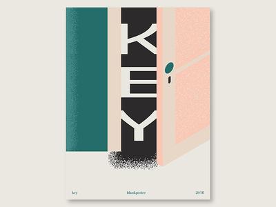 "Blankposter ""Key"" gradient shape door key colour blankposter"