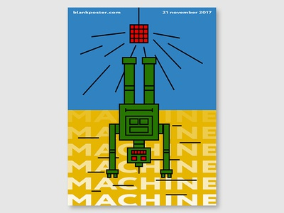 """Blankposter """"Machine"""" type robot machine shape poster gradient colour blankposter"""