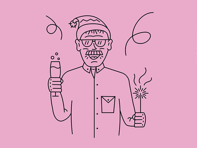 New Year Card 2 style portfolio outline illustration clean