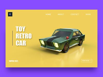 Retro car vector branding typography illustration design c4d ui
