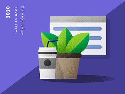 Potted plant ui design illustration