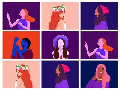 The characters' emotions emotions feelings girl illustration