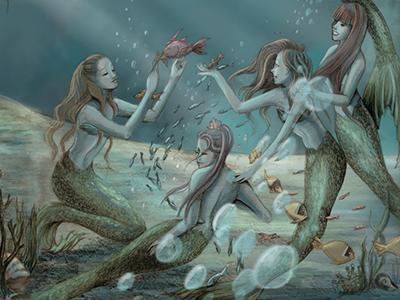 The Little Mermaid mermaid nautical little mermaid illustration