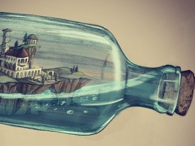World in a bottle nautical storybook illustration water