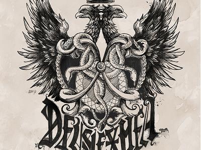 Deus Lex Mea lettering hand drawn type eagles snakes