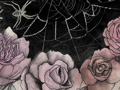Carpe Diem spiderweb floral graphite illustration