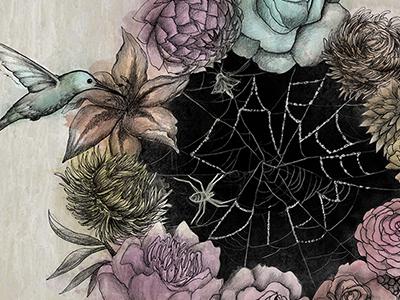 Carpe Diem hummingbird illustration floral
