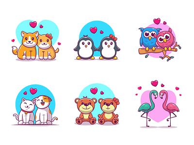 Couple Animals 🥰🐶😻🐧 🦢🦉🐻💙 logo bear animal couple heart love teddy flamingo cat owl penguin dog