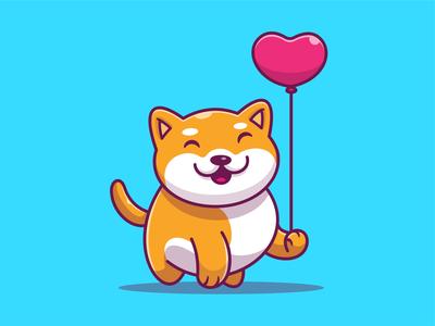 Shiba Love 🐕💙 pet cute icon illustration animal logo dog heart balloon love shibainu shiba