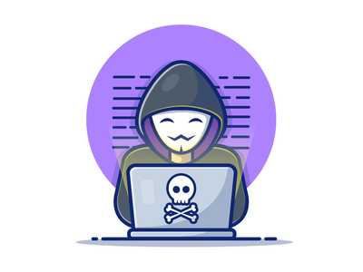 Happy Hacker 🤗💻☠ cute logo vector icon illustration hacking security technology internet laptop character hacker