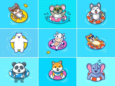 is it still summer? 🤔🤔 logo illustration elephant panda polar cow dog cat koala cute animals swimming summer