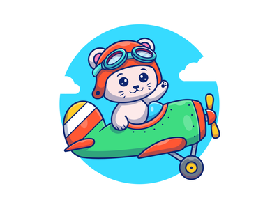 Let's fly higher😽🛩💨 logo icon illustration character mascot pilot cute sky air plane fly cat