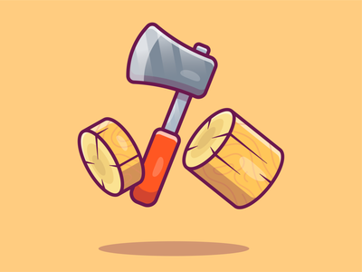 Axe and Wood🪓😁 vector logo icon illustration weapon forest wooden lumberjack tree cut wood axe