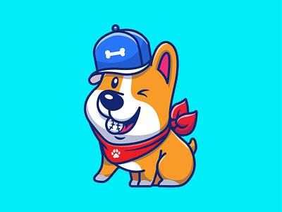 corgi on the game!! 🐶⚾ logo icon illustration sport baseball hat baseball game dog puppy corgi
