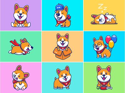 corgi collections!! 🐶🐶🐶 sleepy mascot illustration icon cute logo bone happy animal pet puppy dog corgi