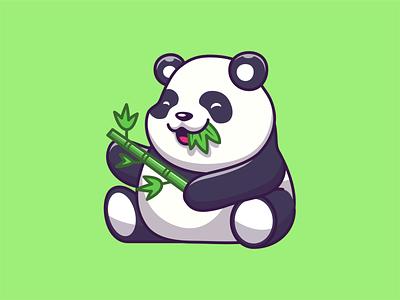 panda!! 🐼 logo icon illustration character mascot cute animal fat green eat bamboo panda