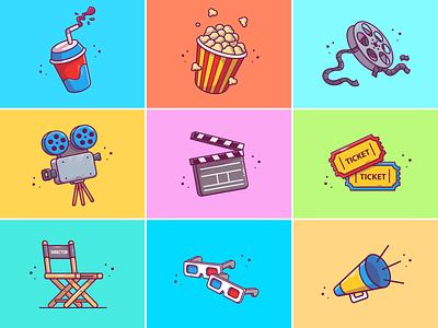 It's Movie Time! 🍿🥤🎬 vector logo icon illustration watching roll camera popcorn soda film cinema movie