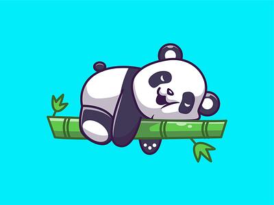 weekend vibes only 🐼💤💤😴 mascot logo icon illustration panda bear cute animal lazy weekend bamboo sleeping panda