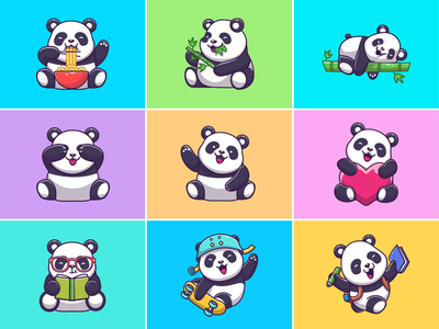 Panda Collections! 🐼🐼🐼💤🍜 character icon illustration mascot logo school animal noodle eat bamboo cute panda