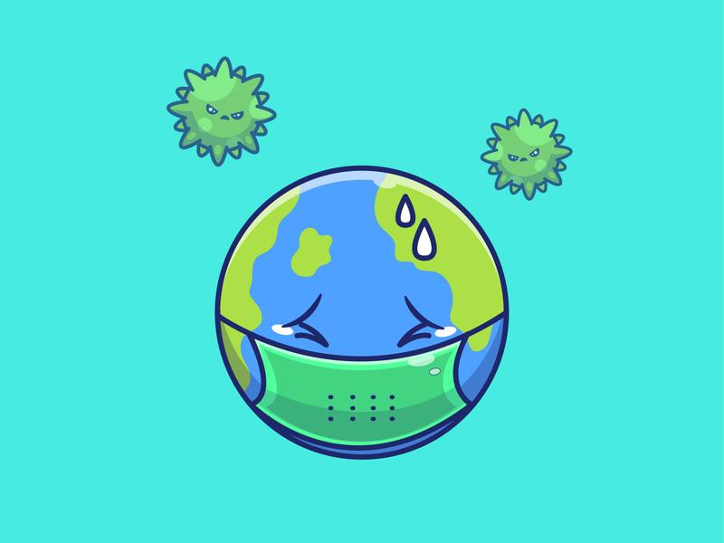 Save our earth 🌍🌍🌍 bacteria mascot character mascot cartoon mask terror fear sad cute vector logo icon illustration covid-19 corona virus globe world earth save