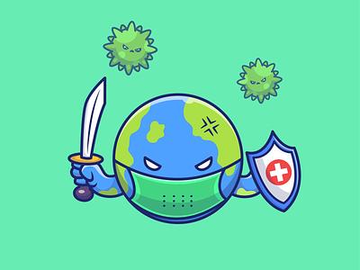 Save our earth 🌍🌍🌍 cute vector logo icon illustration medical mask bacteria character mascot angry shield covid-19 corona virus fight sword globe earth world