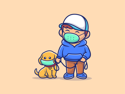 stay health and dont forget to wear your mask guys 🤗😷😷 character dog mascot virus shield sword cute logo icon illustration safe love girl boy scare people mask covid-19 coronavirus corona