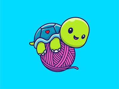 Turtle laying on Yarn 🐢🧶 shell nature green tortoise turtles pet ocean logo vector icon illustration happy cartoon mascot character cute ball yarn laying turtle