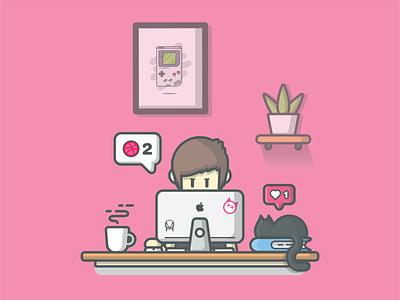 Two dribbble Invitation 😹🤞 kitten pet workdesk cute dribbble logo icon illustration designer programmer technology laptop computer book cat coffee workspace invitation invite dribbbble