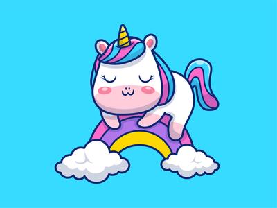 Sleeping Unicorn!! 🦄💤😴 girl beautiful magic character mascot cartoon logo vector icon illustration cloud kid colorfull kawaii cute animal horse rainbow unicorn sleeping